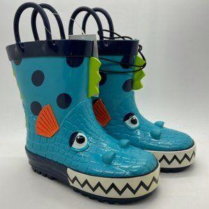 Kids Boot MySoft Fishy Blue Multi Pull On Gumboots